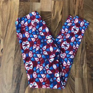 LuLaRoe red and blue OS leggings
